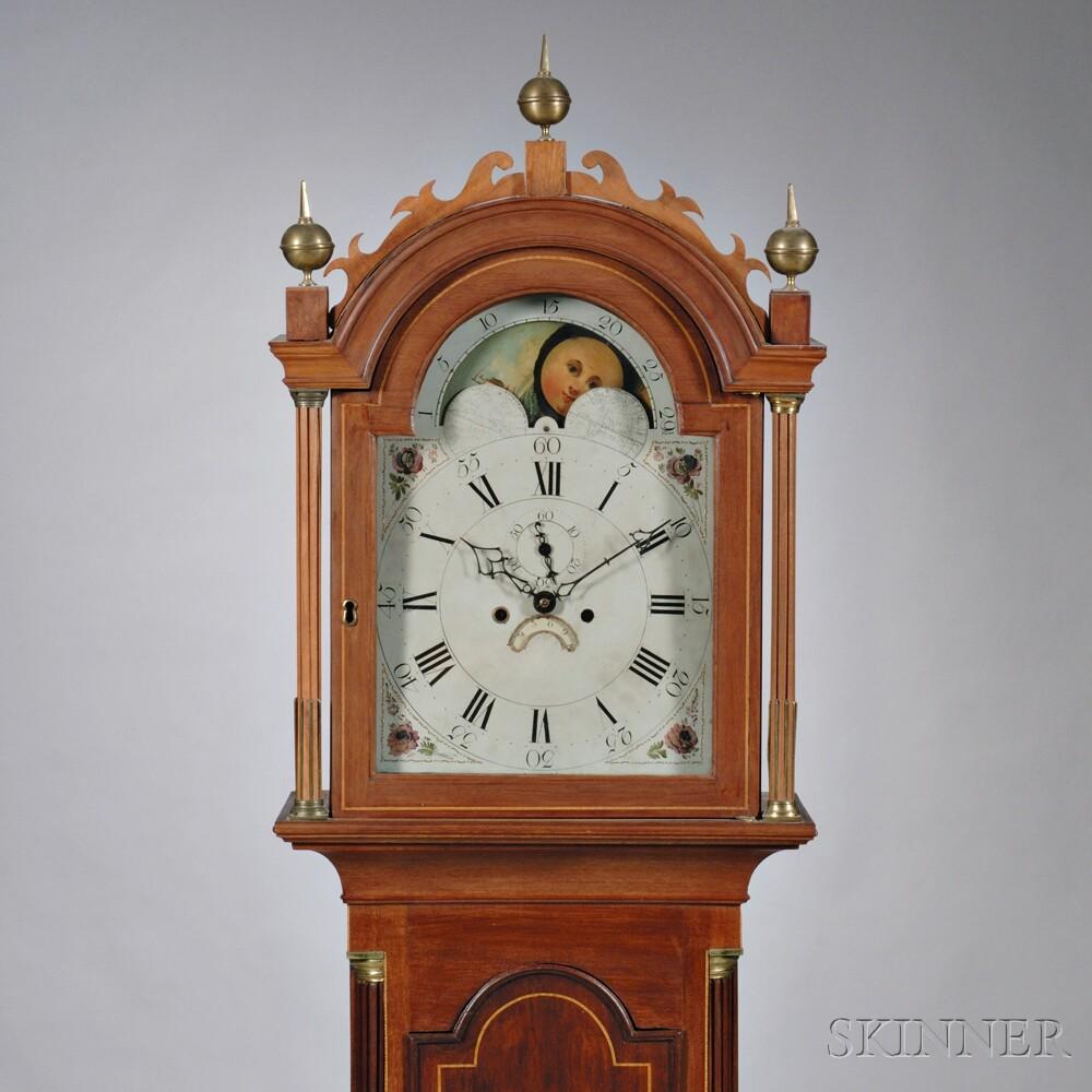 New England Inlaid Mahogany Tall Clock