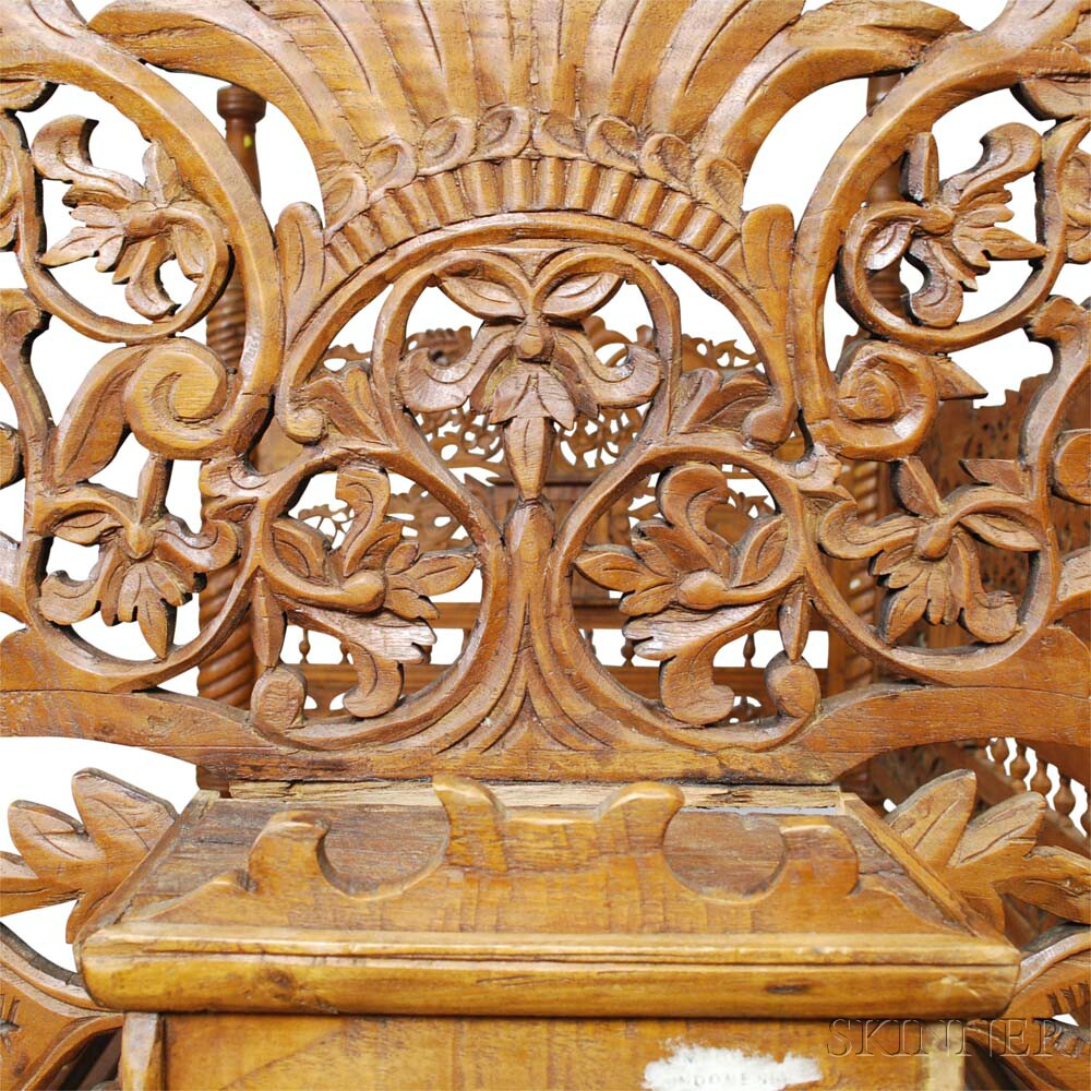 Indonesian Carved Hardwood Day Bed