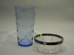 Blue Etched Glass Vase and a Silver Mounted Colorless Glass Center Bowl.