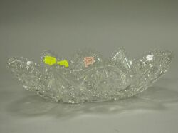 Colorless Cut Glass Oblong Bowl