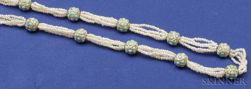 Turquoise Bead and Seed Pearl Necklace