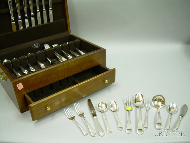 Fifty-six Piece Lunt Sterling Silver Treasure Pattern Flatware Set
