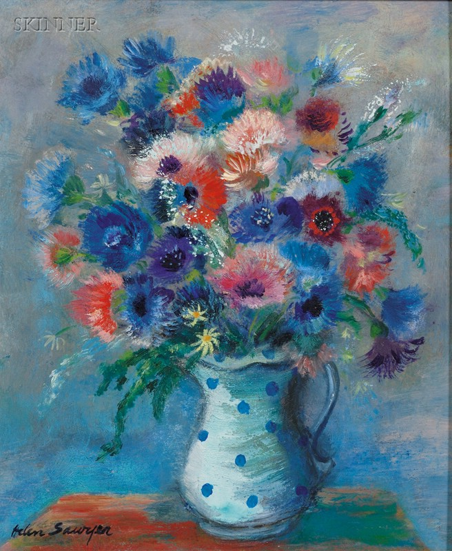 Lot of Two Floral Still Lifes:      Helen Alton Farnsworth Sawyer  (American, 1900-1999), Bouquet of Flowers