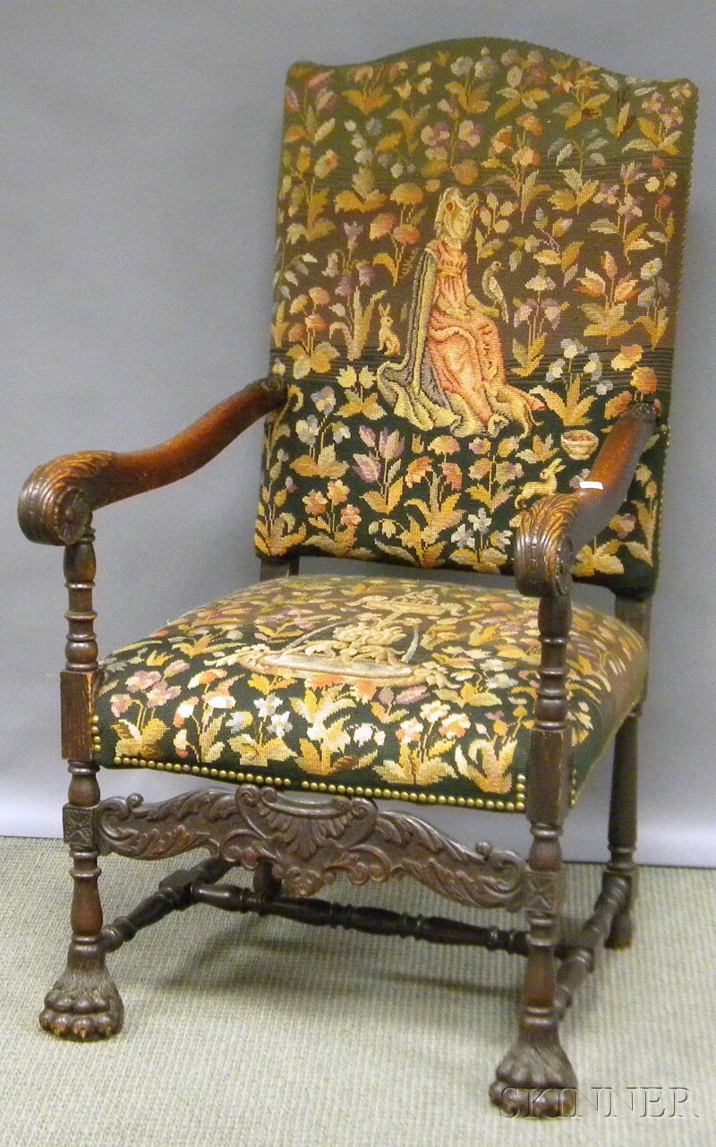 Tapestry-upholstered Carved Oak Armchair