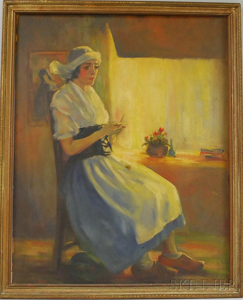 Northern European School, 19th/20th Century      Portrait of a Dutch Girl Sitting by a Window