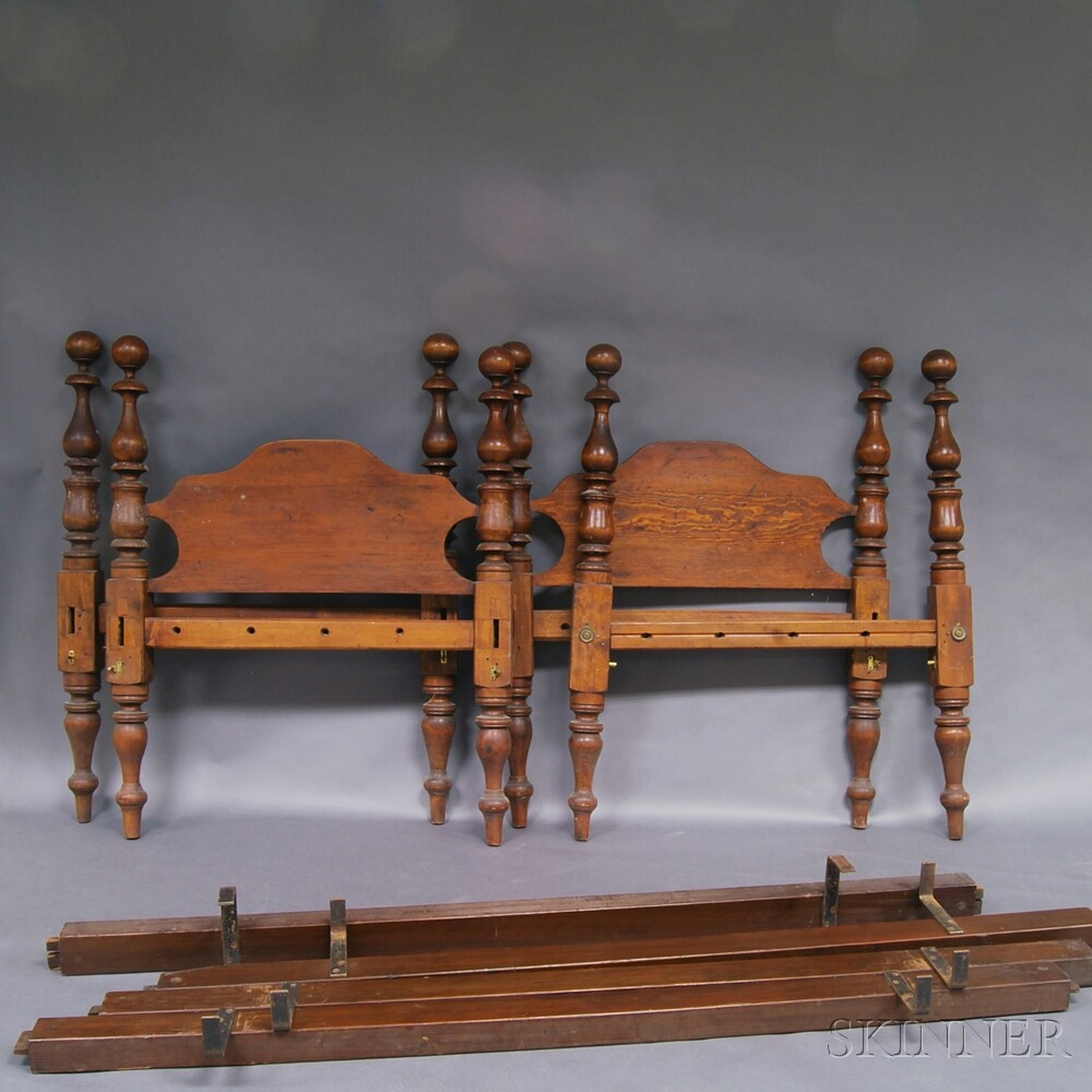 Pair of Late Federal Country Pine and Maple Low Post Cannonball Beds