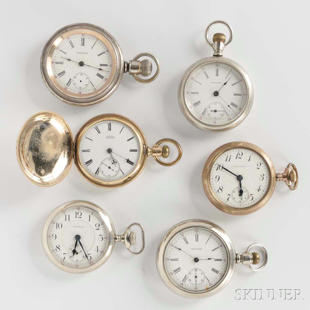 Six Waltham Pocket Watches