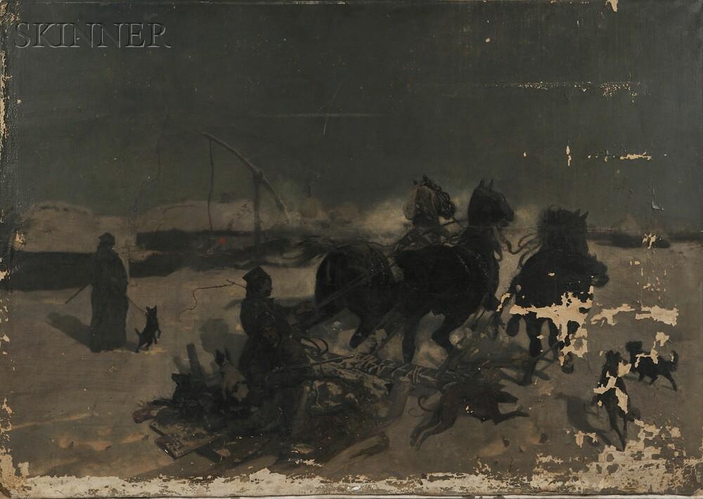 Josef Chelmonski (Polish, 1850-1914)      The Sleighing Accident