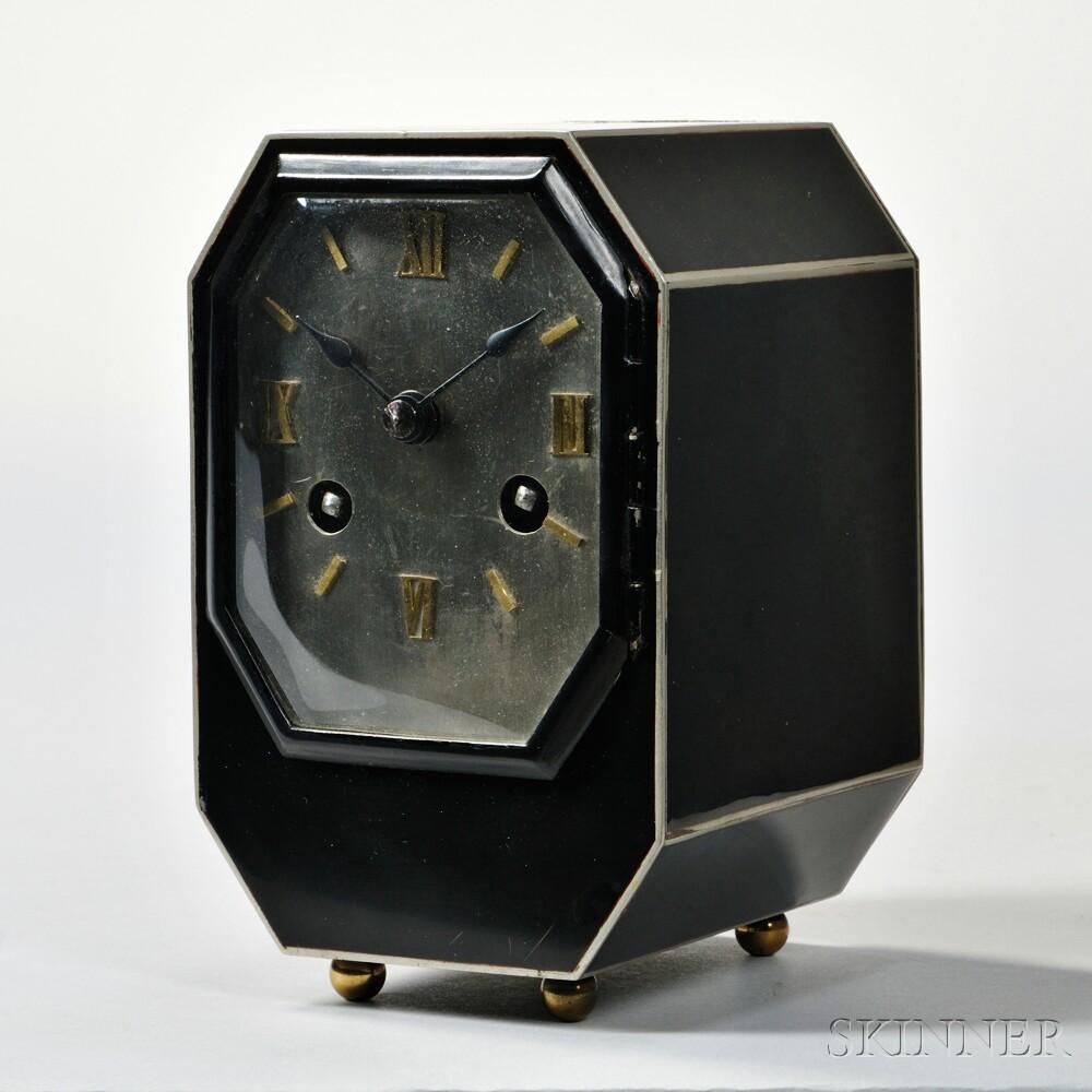 Black and Silver Art Deco Desk Clock