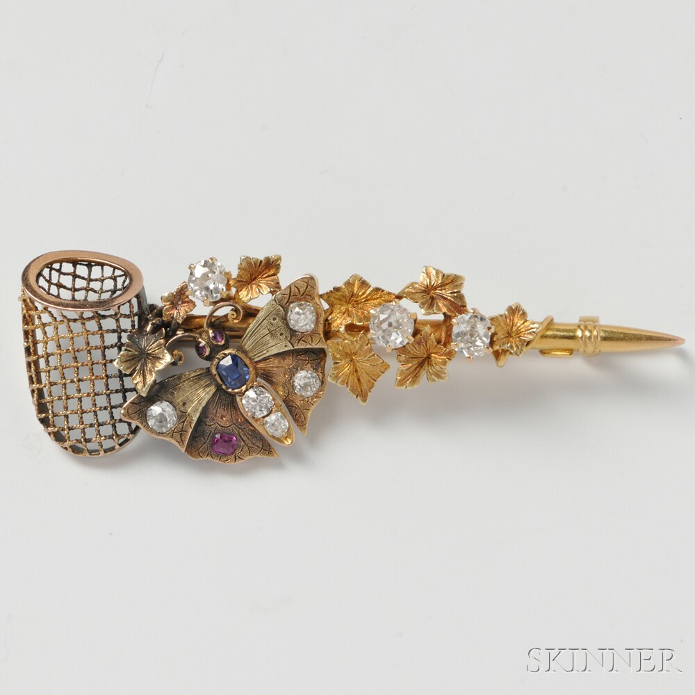 14kt Gold Gem-set Butterfly Net Brooch