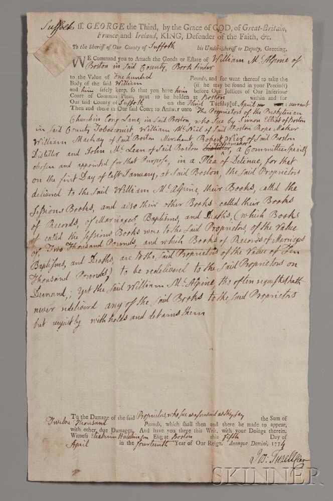Adams, John (1735-1826) Legal Document Signed, 5 April 1774.