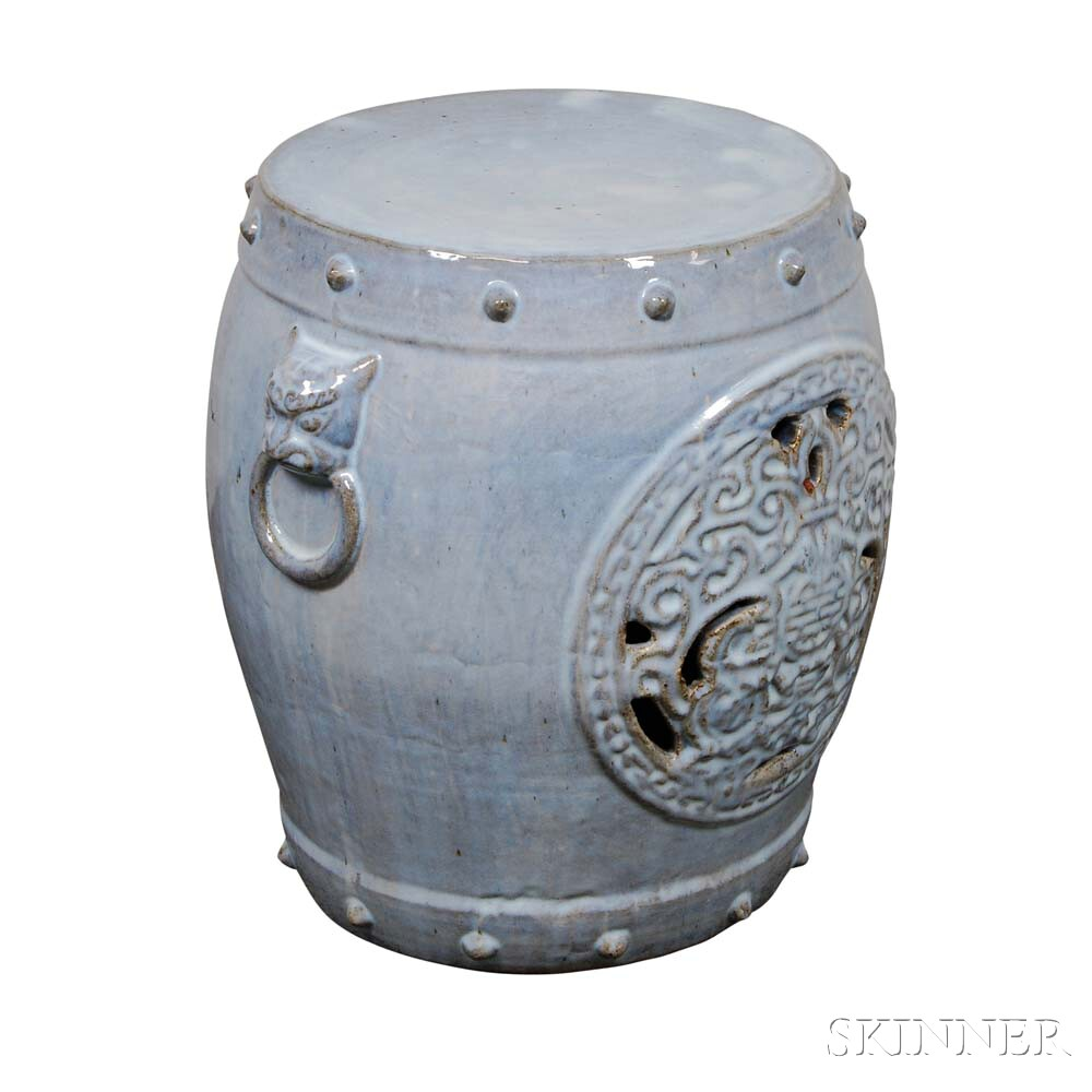 Asian-style Blue-glazed Ceramic Garden Seat