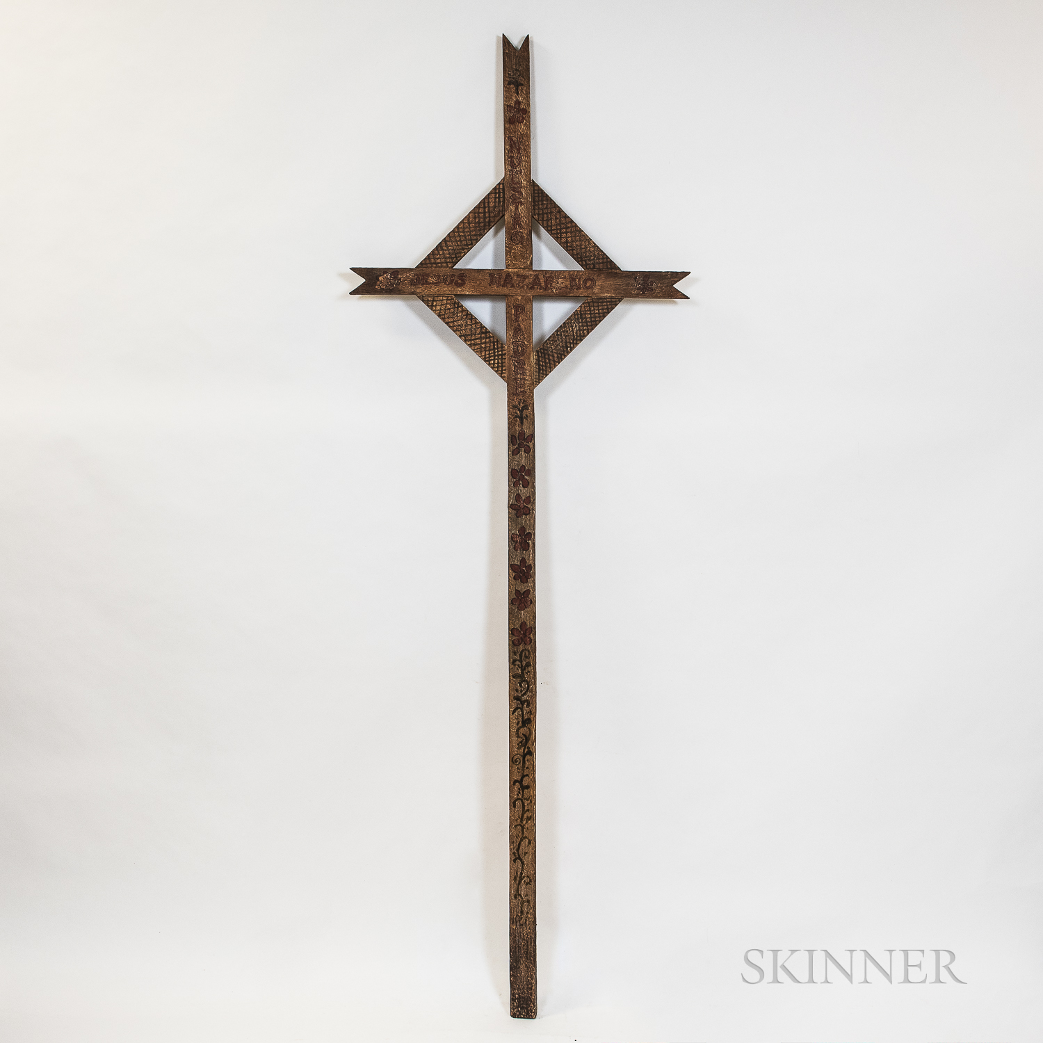 Taos Carved and Painted Wooden Cross