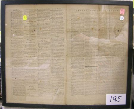 Framed Late 19th Century Reprint of the Ulster County Gazette
