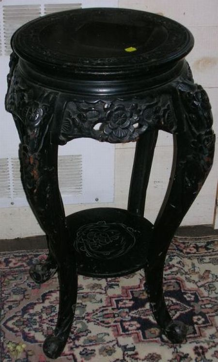 Chinese Ebonized Carved Hardwood Stand.