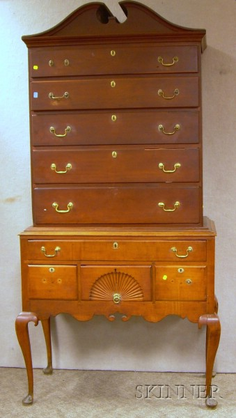 Queen Anne Carved Cherry Two-part Highboy.