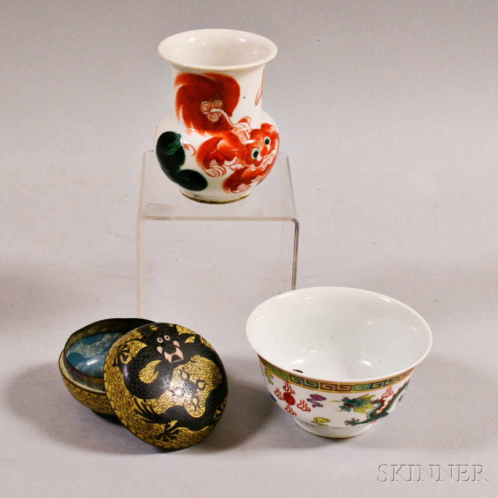 Two Ceramic Items and a Cloisonne Box