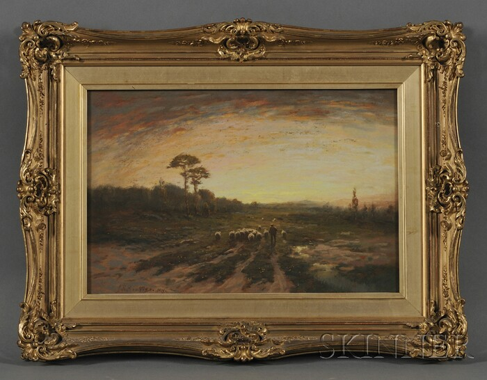Paul R. Koehler (American, 1866-1909)      Shepherd with Flock at Sunset