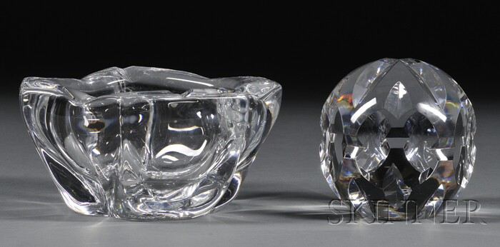 Daum Colorless Art Glass Bowl and a French Cut Glass Sculpture
