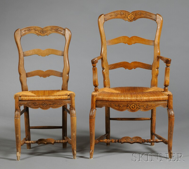 Ten Assembled French Provincial-style Fruitwood Chairs with Rush Seats