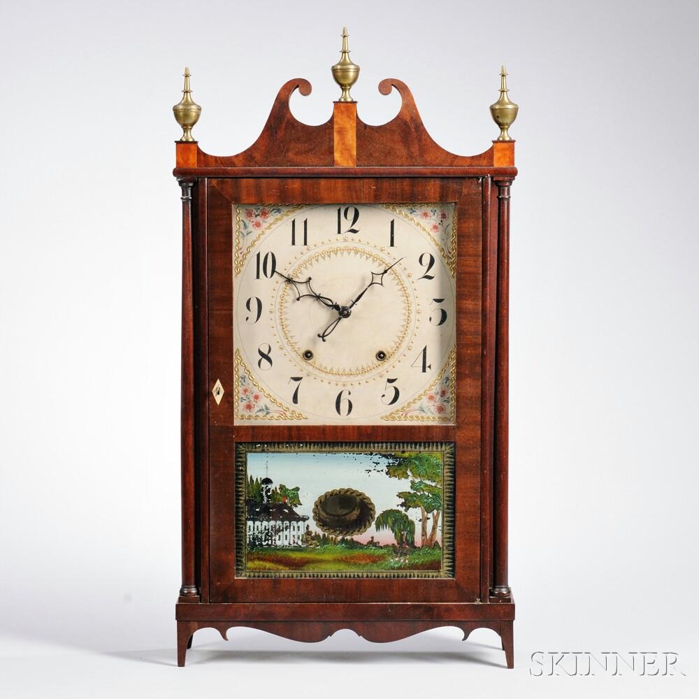 Eli Terry Mahogany Pillar and Scroll Shelf Clock