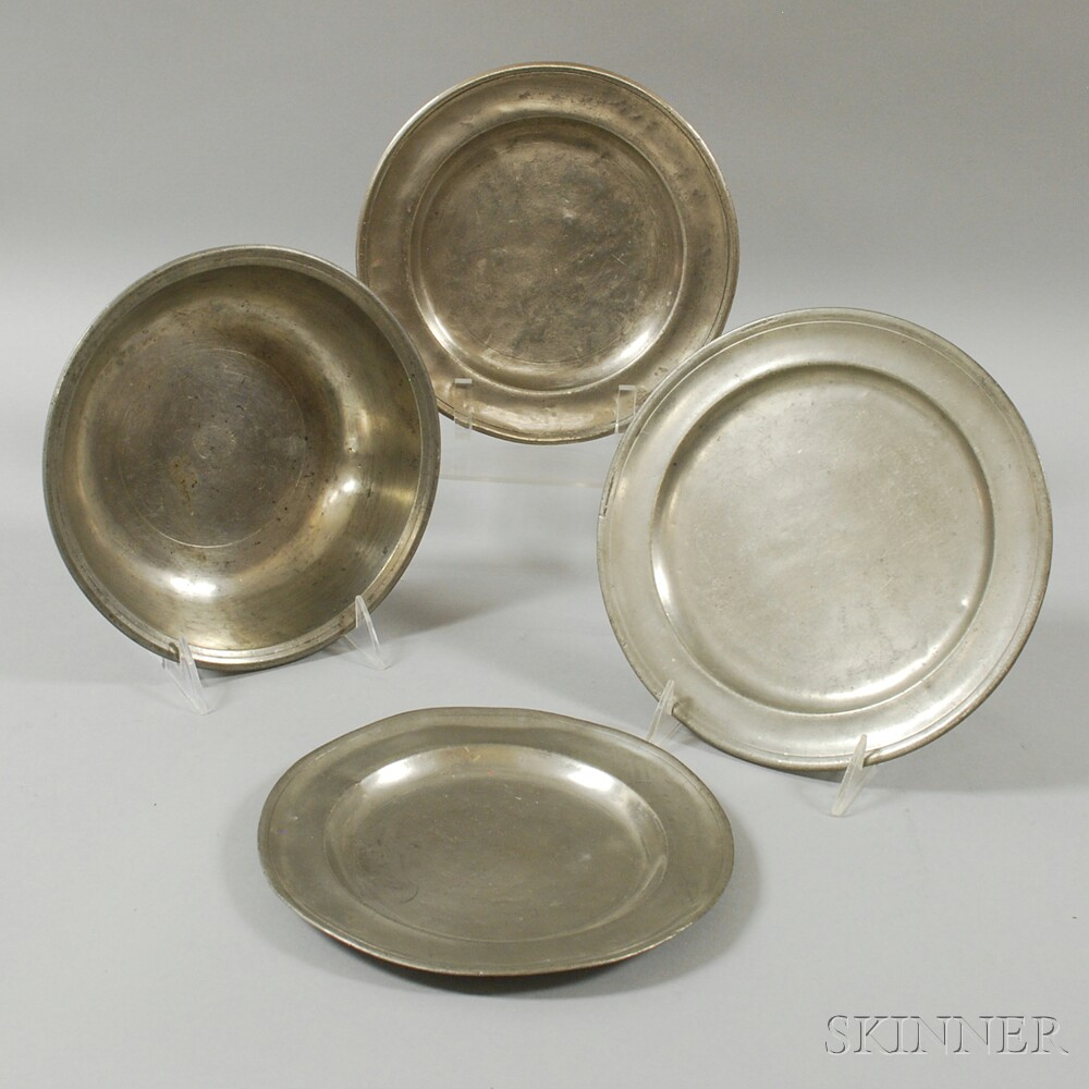 Four American Pewter Table Items