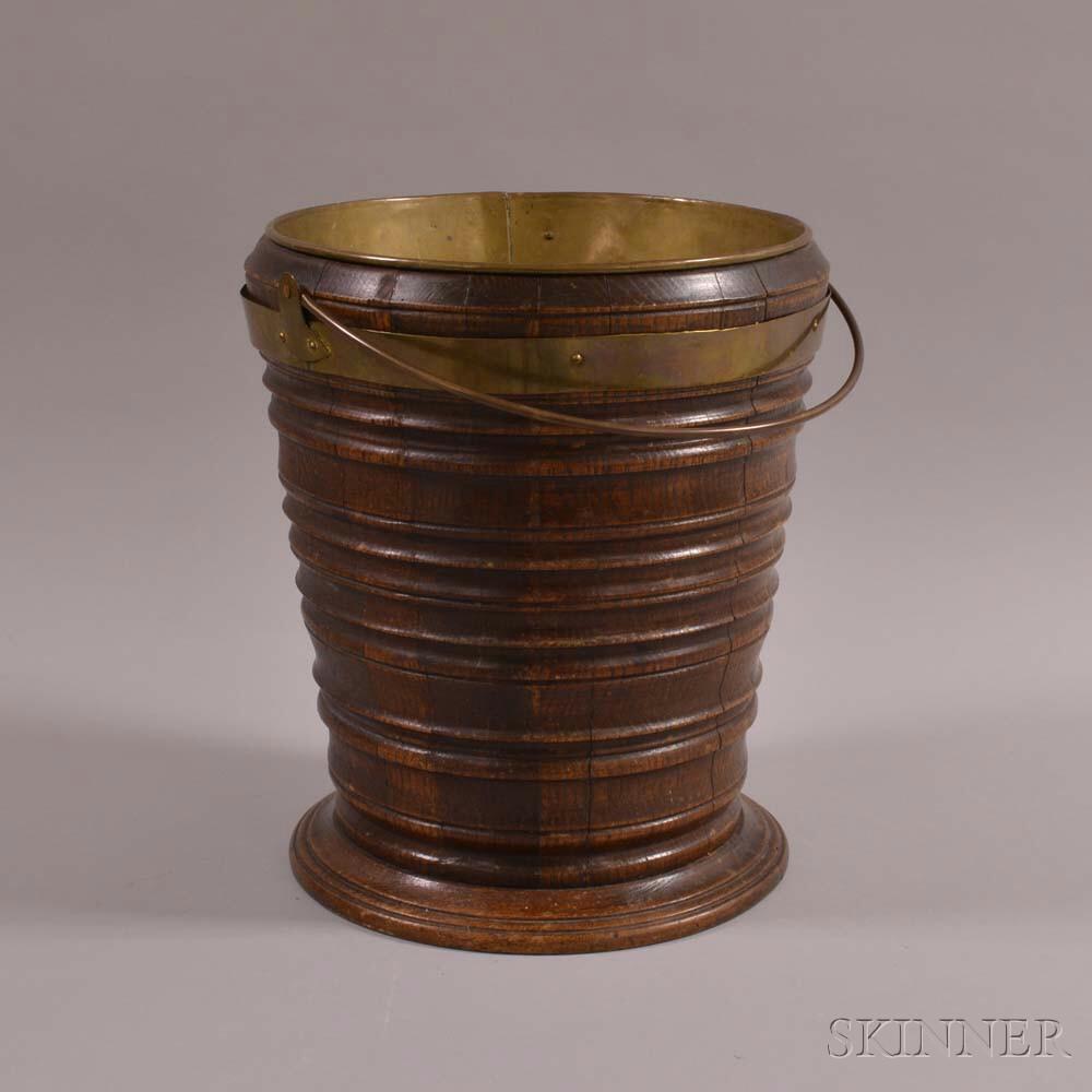 Dutch Teestoof Oak and Copper Bucket