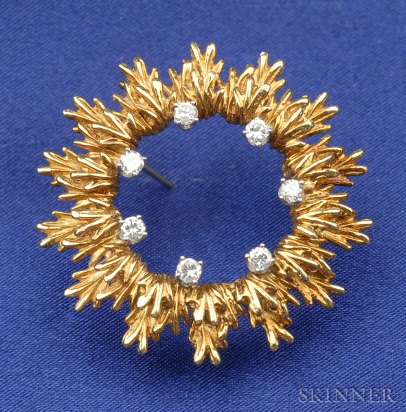 18kt Gold and Diamond Wreath Brooch