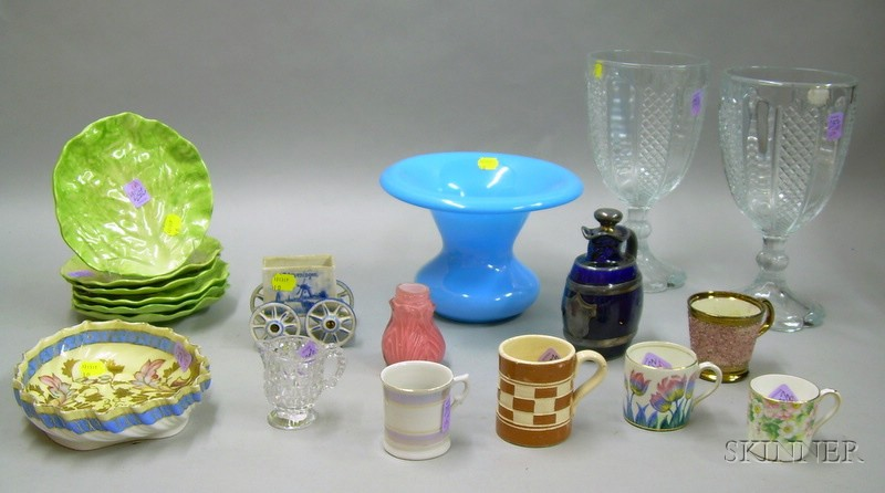 Nineteen Pieces of Assorted 19th and 20th Century Glass and Ceramic Decorative and Collectible Items.