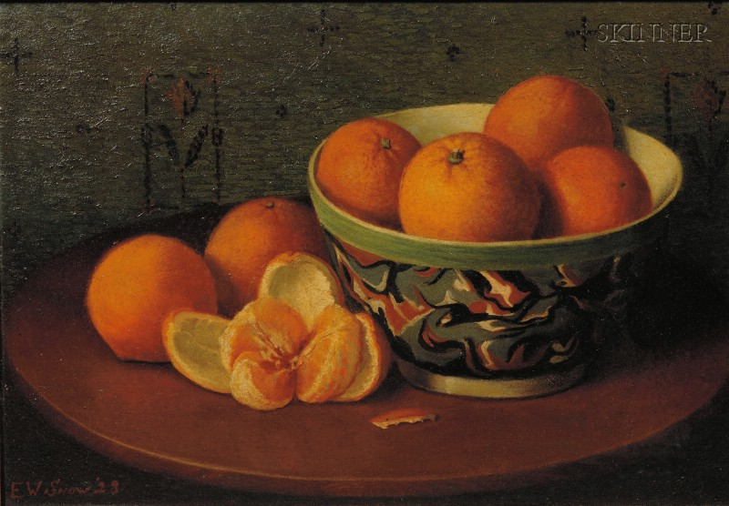 American School, 20th Century      Still Life with Oranges and Mochaware