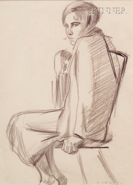 Agnes Weinrich (American, 1873-1946)      Lot of Two Portraits: Seated Woman