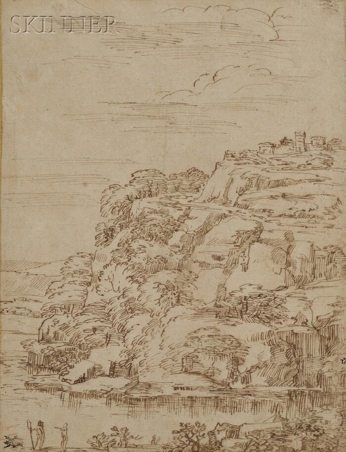 Attributed to Domenico Zampieri, called Il Domenichino (Italian, 1581-1641)      Landscape with Foreground River and Hilltop Castle