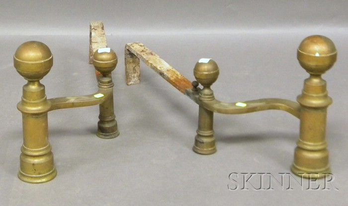 Pair of Hunniman Brass Belted Ball-top Andirons