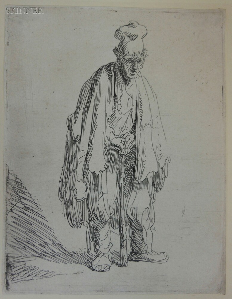 Rembrandt van Rijn (Dutch, 1606-1669)      Beggar in a High Cap, Standing and Leaning on a Stick