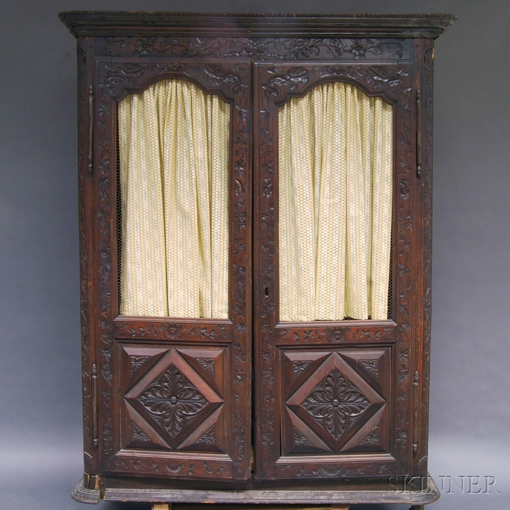 French Louis XV-style Carved Walnut Armoire