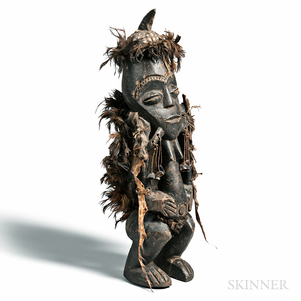 Songye-style Carved and Feathered Nkisi Power Figure