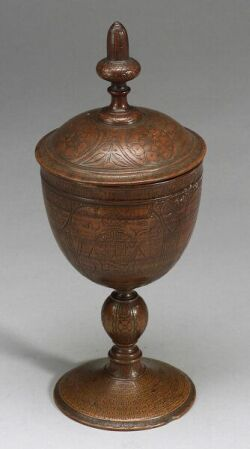 English Jacobean-style Treenware Covered Chalice