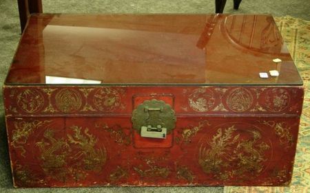 Chinese Export Red Painted and Gilt Decorated Pigskin Trunk.