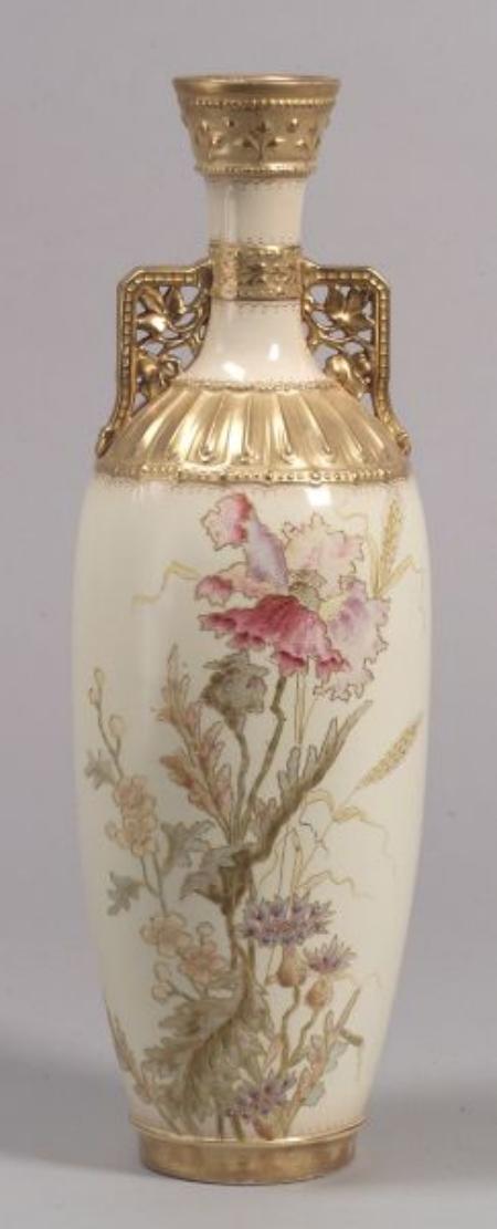 Royal Bonn Hand-painted Poppy Decorated Porcelain Vase