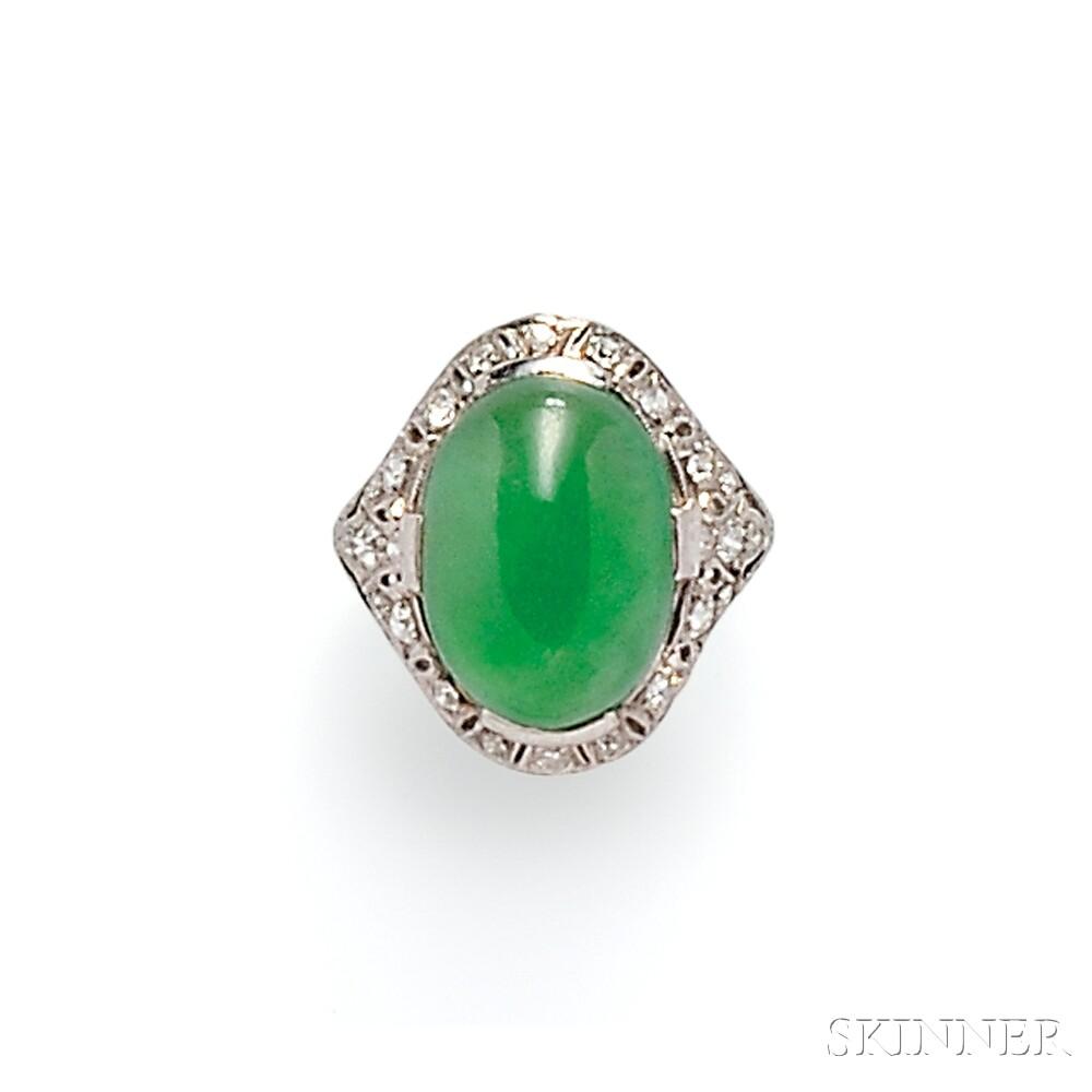 Art Deco Platinum, Jade, and Diamond Ring