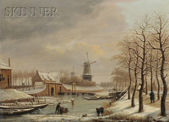 Dutch School, 19th Century      Winter Landscape with Skaters