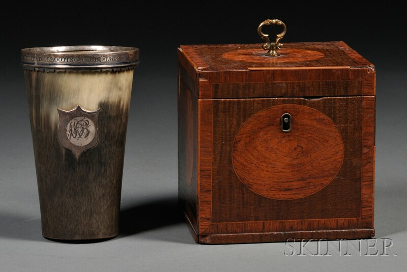 Inlaid Tea Caddy and Silver-mounted Horn Beaker