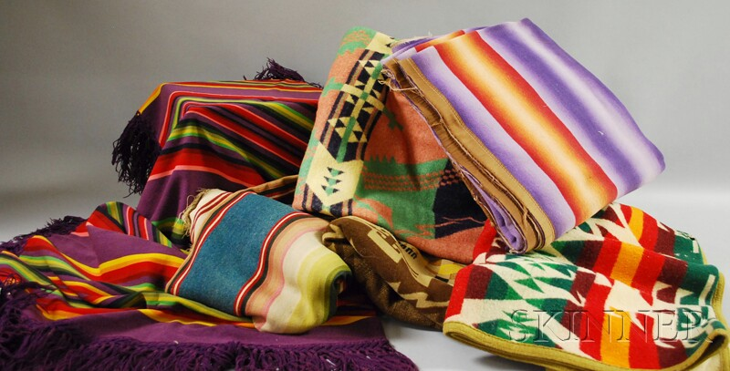 Four Vintage Wool Indian Trade Blankets and Two Woven Wool Serapes