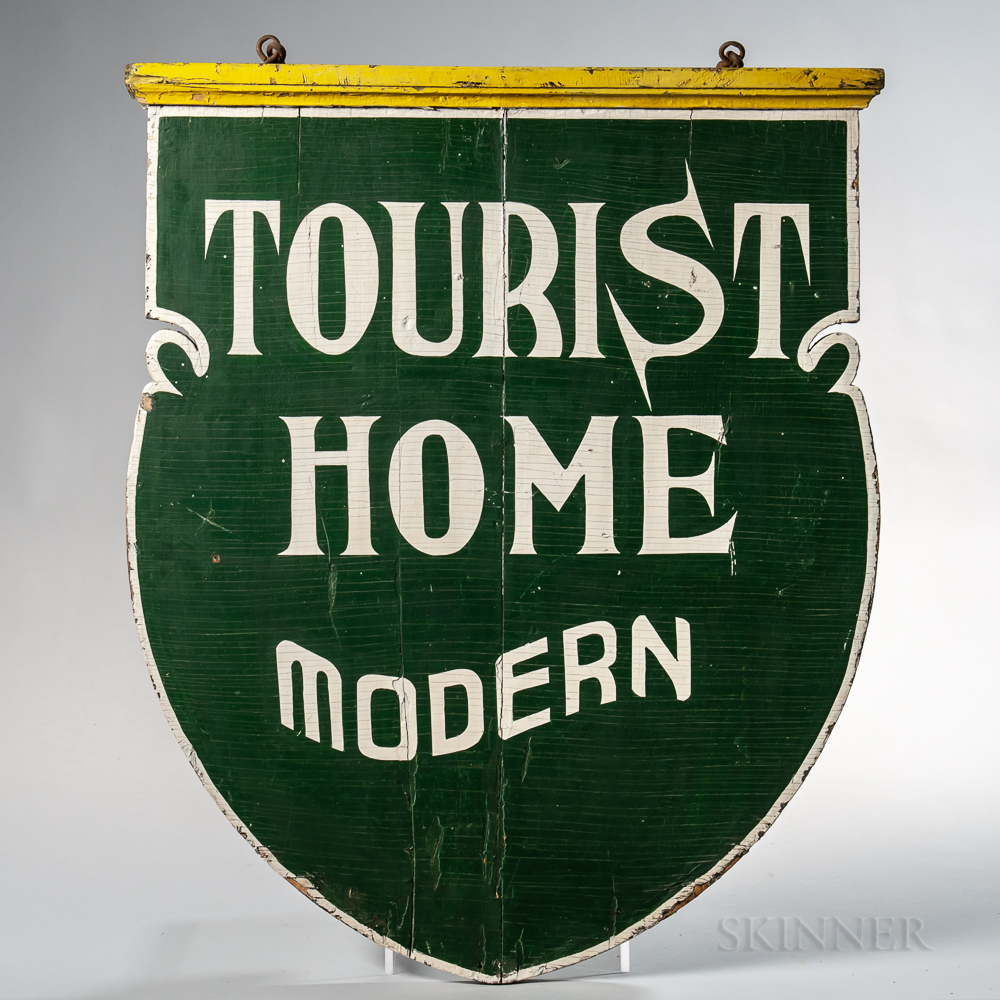 """Shield-shaped Double-sided """"Tourist Home Modern"""" Sign"""