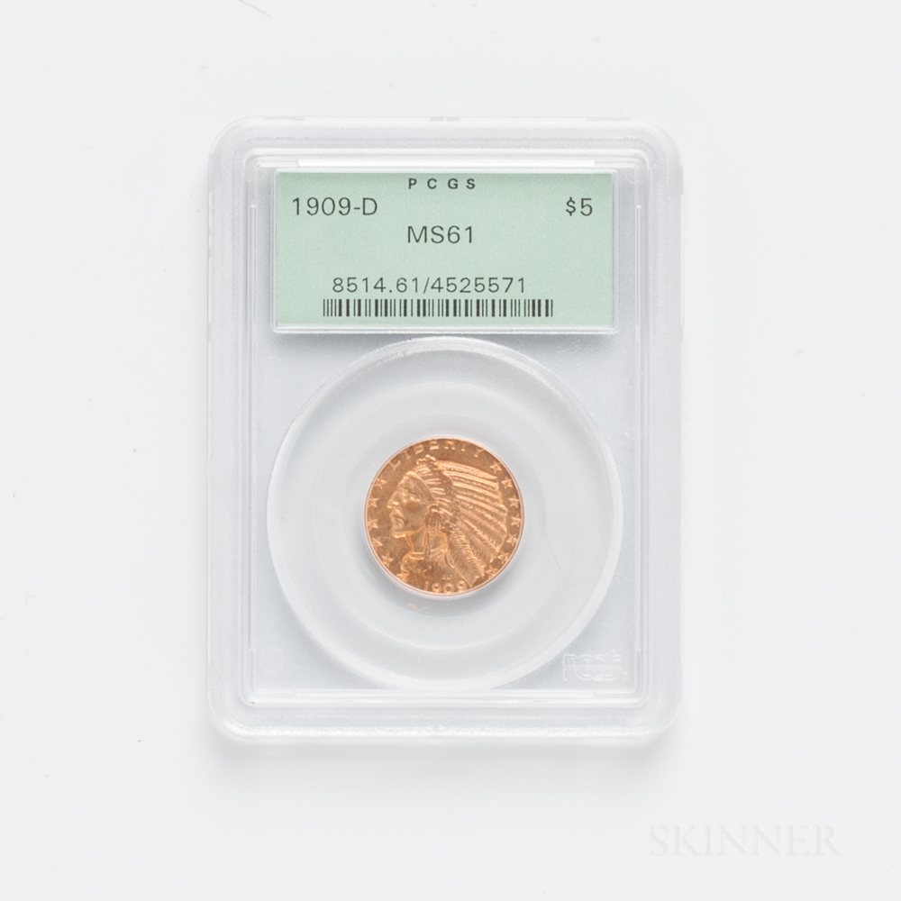 1909-D $5 Indian Head Gold Coin, PCGS MS61.     Estimate $200-400