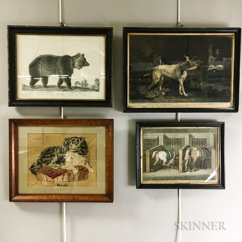 Three Framed Animal Engravings and a Needlepoint Picture of a Spaniel.     Estimate $200-300