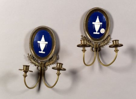 Pair of French Classical Revival Enamel and Brass Two-light Sconces