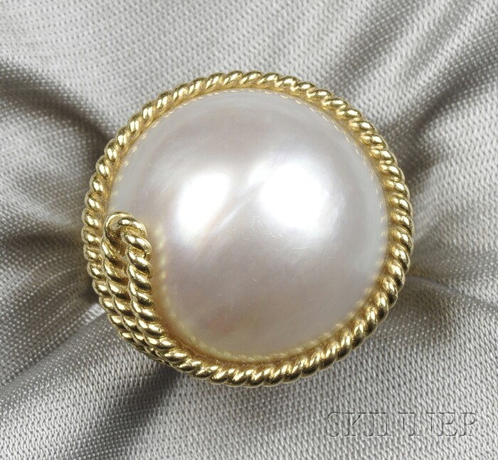 18kt Gold and Mabe Pearl Ring, Tiffany & Co.