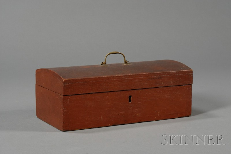 Red-painted Pine Dome-top Box