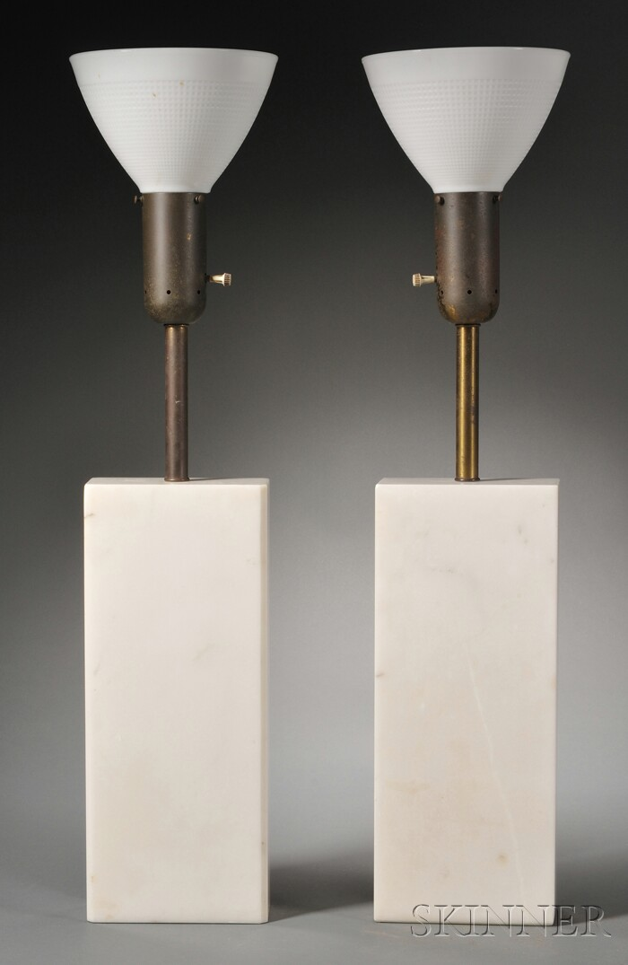 Pair of Nessen Marble Table Lamps